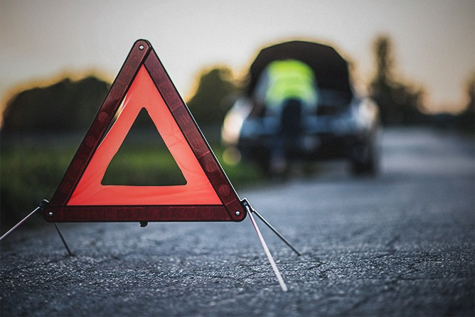 Safety-Triangle-In-Front-Of-Car