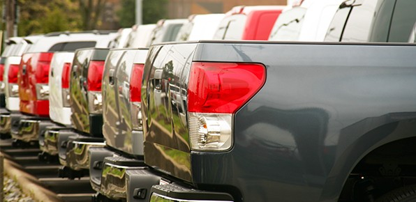 Row-of-Trucks-On-Dealer-Lot